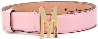 Moschino M logo-plaque belt