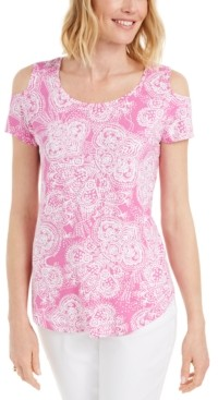 JM Collection Printed Cold-Shoulder Scoop-Neck Top, Created for Macy's