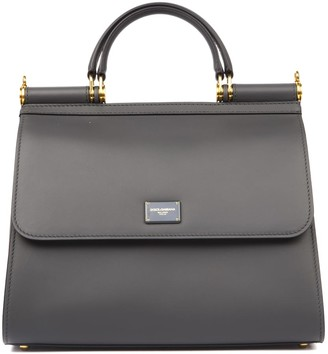 Dolce & Gabbana Sicily 58 Grey Leather Bag