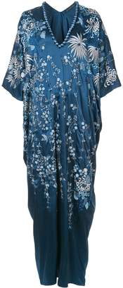 Josie Natori floral-embroidered caftan dress