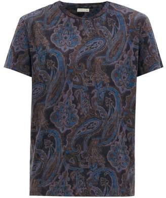 Etro Paisley-print Linen T-shirt - Mens - Navy Multi