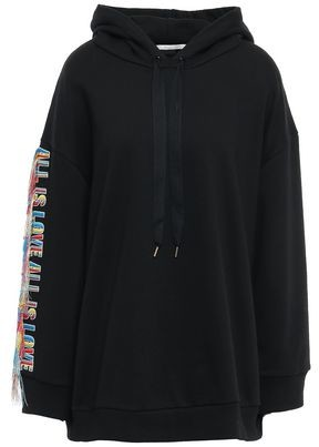 Stella McCartney Fringe-trimmed Embroidered French Cotton-terry Hoodie