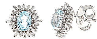 Forever Creations Usa Inc. Forever Creations Silver 2.21 Ct. Tw. Diamond & Aquamarine Studs