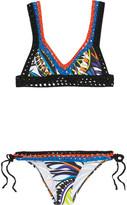 Emilio Pucci Crocheted cotton printed triangle bikini