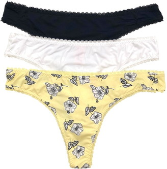Felina Print and Solid Micro Lace Trim Thong