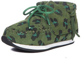 AKID Children's Shoes Leopard-Print Mid-Top Sneaker, Green, Toddler/Youth