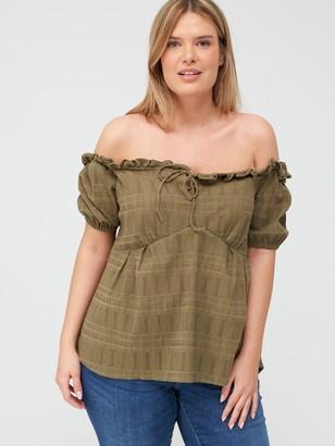 V By Very Curve Textured Fabric Bardot Top - Khaki
