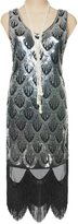 Vikoros Women's 1920s Fish Scale Paisley Sequin Fringe Gatsby Flapper Dress