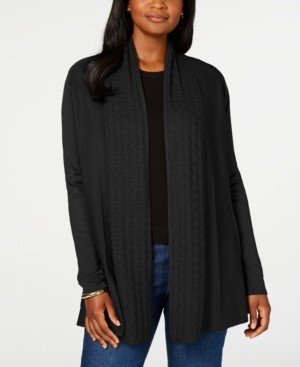 Karen Scott Mixed-Stitch Open Cardigan, Created for Macy's