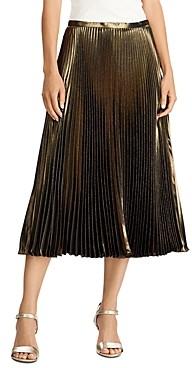 Ralph Lauren Ralph Pleated Metallic Midi Skirt