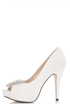 Quiz White Satin Butterfly Embellished Court Shoe