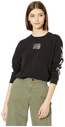 Vans Streamer Long Sleeve Boyfriend Tee (Black) Women's Clothing