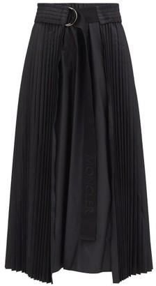 Moncler Pleated Taffeta Midi Skirt - Black