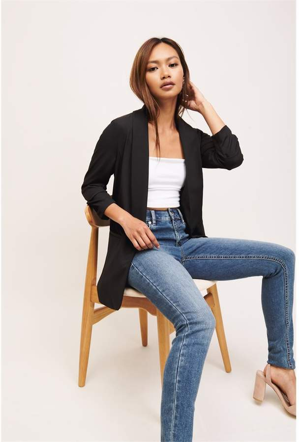 Dynamite Boyfriend Blazer With Ruching Jet Black