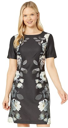 Adrianna Papell Shadow Roses Printed A-Line Dress (Black Multi) Women's Dress