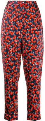 Victoria Victoria Beckham Cherry Print Tapered Trousers