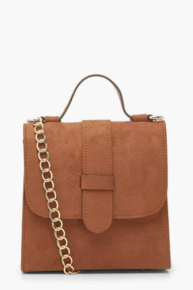 boohoo Suedette Tab Small Tote Bag