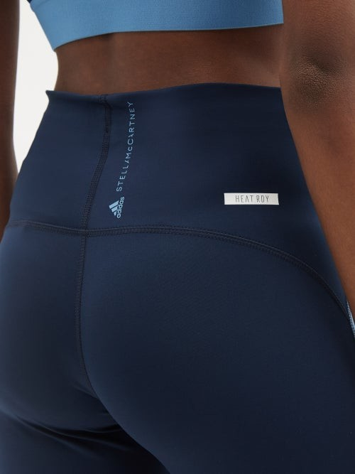 Thumbnail for your product : adidas by Stella McCartney Truepace Cropped Recycled-fibre Blend Leggings - Blue