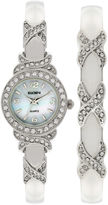 Elgin Womens Silver-Tone Crystal Accent Bangle Watch Set