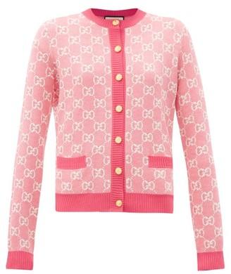Gucci GG-jacquard Wool-blend Cardigan - Pink White