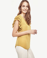 Ann Taylor Pleated Flutter Blouse