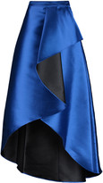 Badgley Mischka Draped wrap-effect satin-twill maxi skirt