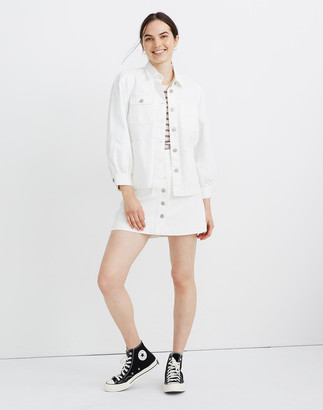 Madewell White Denim Puff-Sleeve Chore Jacket