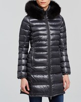 Duvetica Ociroe Hooded Down Coat with Fur Trim