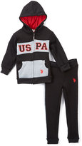 U.S. Polo Assn. Red & Navy Zip-Up Hoodie & Sweatpants - Infant Toddler & Boys