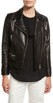Veronica Beard Freedom Embroidered Eagle Leather Moto Jacket, Black
