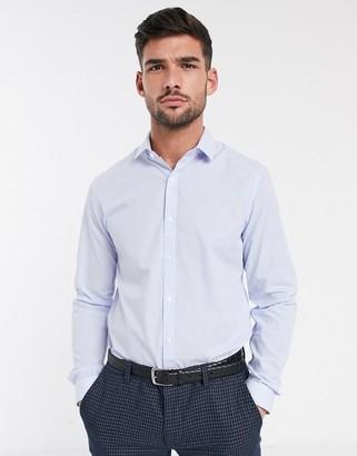 Topman long sleeve shirt in blue stripe