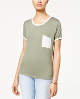 Ultra Flirt Juniors' Ringer Pocket T-Shirt