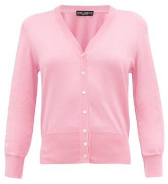 Dolce & Gabbana V-neck Knitted-silk Cardigan - Womens - Light Pink