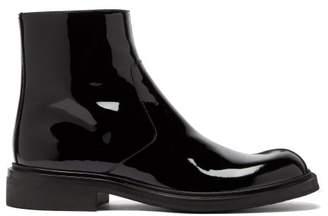 Prada Square Toe Patent Leather Boots - Mens - Black