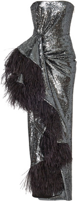 Prabal Gurung Feather-Trimmed Sequined Crepe Gown