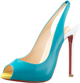 Christian Louboutin Flo Colorblock Patent Red Sole Slingback, Caraibes/Canari
