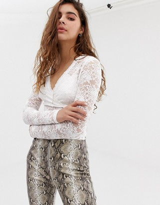 Wild Honey long sleeve lace top-White