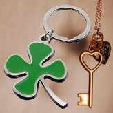 Unyshop Creative Green Color Four-leaf Clover Fortune fashion Key Chain Ring Key Fob