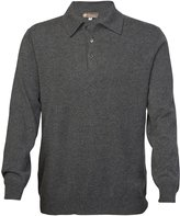Cashmere Boutique Men's Pure Cashmere Polo Sweater