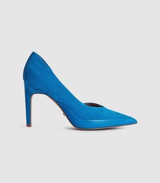 Reiss ALENNA Suede court shoes Cobalt Blue