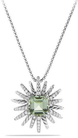 David Yurman 23mm Prasiolite Starburst Pendant Necklace