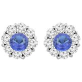 Sabrina Silver 14K White Gold Natural Tanzanite Earrings with Diamond Halo Round 6 mm