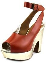 Rochas Christie Open Toe Leather Platform Heel.