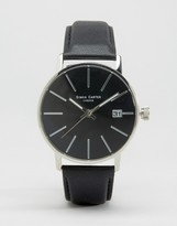 Simon Carter Black Leather Watch With Black Dial