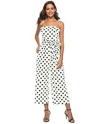 Springfavor Women's Summer Spaghetti Strap Wide Leg Pants Polka Dot Jumpsuits Rompers (L