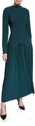 Lela Rose Pleated Jersey Pearly-Waist Long-Sleeve Dress
