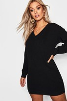 boohoo Plus Rib V Neck Sweater Dress