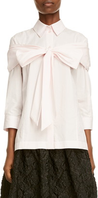 Simone Rocha Bow Detail Poplin Button-Up Shirt