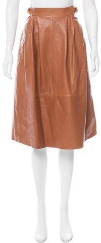 Derek Lam Leather Knee-Length Skirt