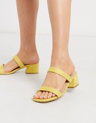 Glamorous block heeled mule in pale yellow